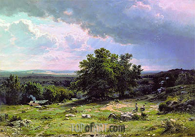 View in the Vicinity of Dusseldorf, 1865 | Ivan Shishkin | Painting Reproduction