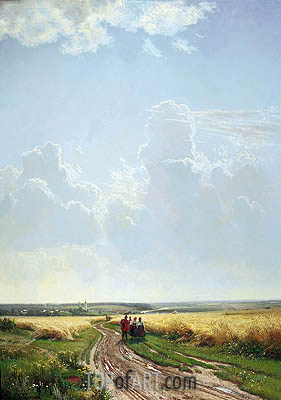 Noon in the Neighbourhood of Moscow, 1869 | Ivan Shishkin| Painting Reproduction