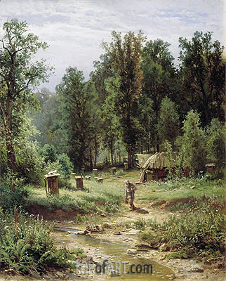 Apiary in the Wood, 1876 | Ivan Shishkin | Painting Reproduction