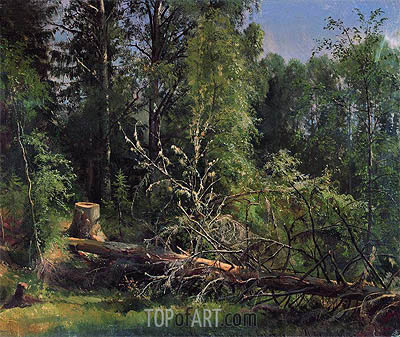 Felled Tree, 1875 | Ivan Shishkin | Gemälde Reproduktion