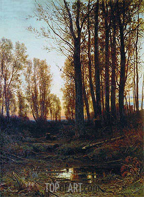 Dusk. Sunset, 1879 | Ivan Shishkin | Painting Reproduction