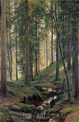 Stream by a Forest Slope, 1880 | Ivan Shishkin| Painting Reproduction