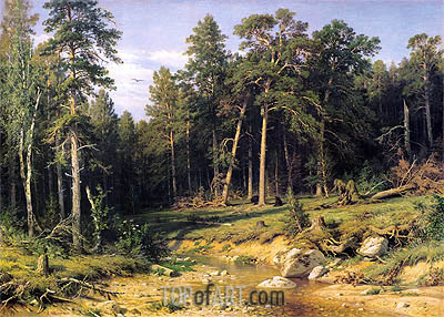 Pine Forest in Viatka Province, 1872 | Ivan Shishkin | Painting Reproduction