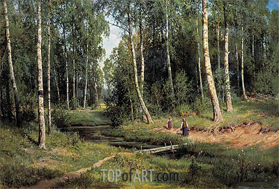 Stream in a Birch Forest, 1883 | Ivan Shishkin| Painting Reproduction