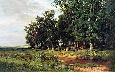 Haymaking in an Oak Grove, 1873 | Ivan Shishkin | Gemälde Reproduktion