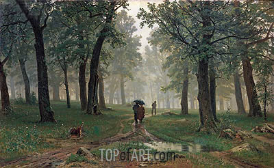 Rain in an Oak Forest, 1891 | Ivan Shishkin| Painting Reproduction