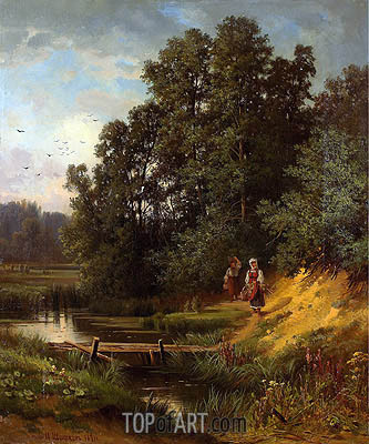 At the Creek, 1891 | Ivan Shishkin| Painting Reproduction