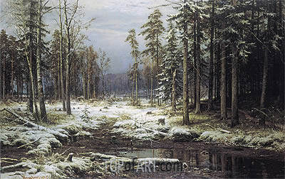 The First Snow, 1875 | Ivan Shishkin| Painting Reproduction