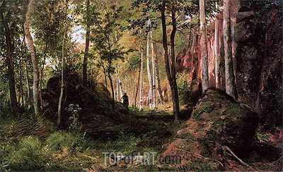 Landscape with a Hunter. The island of Valaam, 1867 | Ivan Shishkin | Painting Reproduction