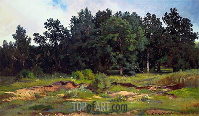 Oak Woods in Gray Day, 1873 | Ivan Shishkin | Painting Reproduction