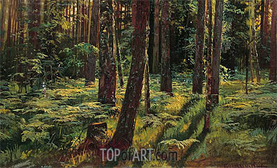 Ferns in the Forest. Siverskaya, 1883 | Ivan Shishkin| Painting Reproduction