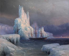 Ice Mountains in Antarctica, Icebergs, 1870 by Aivazovsky | Painting Reproduction