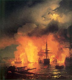 The Battle of Chesma, 25-26 June 1770, 1848 by Aivazovsky | Painting Reproduction