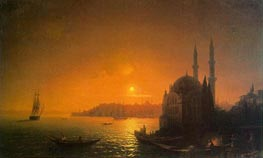 View of Constantinople by Moonlight, 1846 by Aivazovsky | Painting Reproduction
