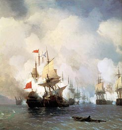 The Battle in the Straits of Chios, 24 June 1770 | Aivazovsky | Gemälde Reproduktion