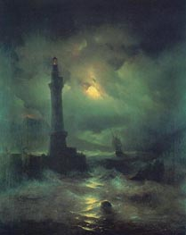 The Neapolitan Beacon, 1842 by Aivazovsky | Painting Reproduction
