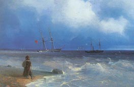 Seashore, 1840 by Aivazovsky | Painting Reproduction