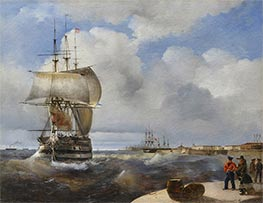 The Great Roads at Kronstadt, 1836 by Aivazovsky | Painting Reproduction
