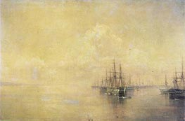 Squadron of the Black Sea Fleet Entering Sevastopo, 1895 by Aivazovsky | Painting Reproduction