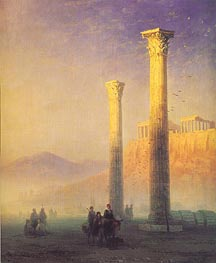 The Acropolis in Athens, 1883 by Aivazovsky | Painting Reproduction
