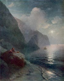 Pushkin by the Cliffs of Gurzuf in the Crimea, 1880 by Aivazovsky | Painting Reproduction