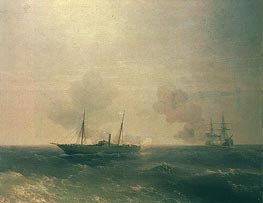 Action Between Vesta & Turkish Battleship in Sea, 1877 by Aivazovsky | Painting Reproduction