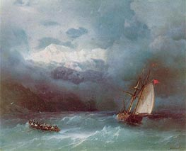 Stormy Sea, 1868 by Aivazovsky | Painting Reproduction