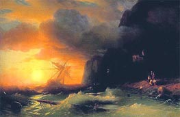 Shipwreck off Mount Athos, 1856 by Aivazovsky | Painting Reproduction