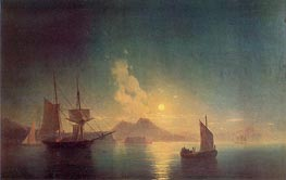 The Bay of Naples by Moonlight, 1850 by Aivazovsky | Painting Reproduction