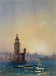 View of the Leander Tower, Constantinople | Aivazovsky | Painting Reproduction