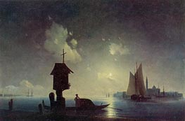Sea View with a Chapel on the Shore | Aivazovsky | Painting Reproduction