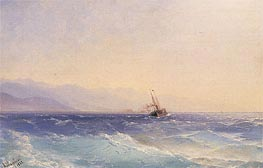 A Steamship off the Coast, 1882 by Aivazovsky | Painting Reproduction