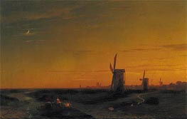 Landscape with Windmills | Aivazovsky | Painting Reproduction