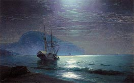 Moonlight in Ayu Dag, Crimea, 1898 by Aivazovsky | Painting Reproduction