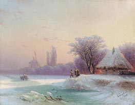 Perils of Winter Travel in the Russian Provinces, 1869 by Aivazovsky | Painting Reproduction
