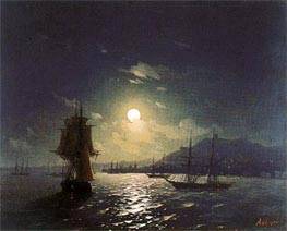 Shipping by a Moonlit Coast, Undated by Aivazovsky | Painting Reproduction