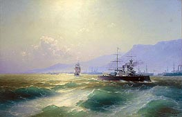 Gunboat off Crete, 1897 by Aivazovsky | Painting Reproduction