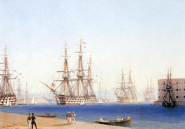 The Black Sea Fleet Entering the Harbour at Sevastopol, 1852 by Aivazovsky | Painting Reproduction