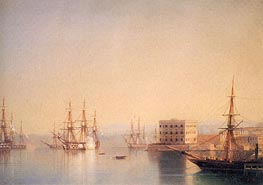 The Entrance to the Harbour at Sevastopol, 1852 by Aivazovsky | Painting Reproduction
