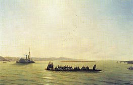 Alexander II Crossing the Danube, 1878 by Aivazovsky | Painting Reproduction