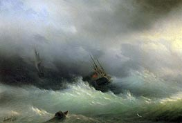 Ships in a Storm, 1860 by Aivazovsky | Painting Reproduction