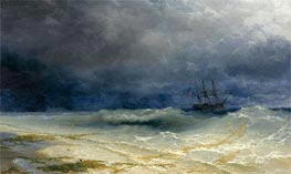 Ship in a Stormy Sea off the Coast, 1895 by Aivazovsky | Painting Reproduction