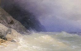 Rough Sea off a Rocky Coast, 1893 by Aivazovsky | Painting Reproduction