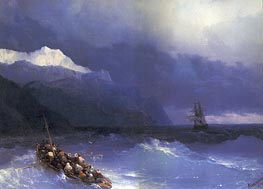 Rescue at Sea off a Mountainous Coast, 1868 by Aivazovsky | Painting Reproduction