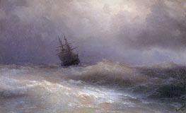Ship in a Stormy Sea, 1887 by Aivazovsky | Painting Reproduction