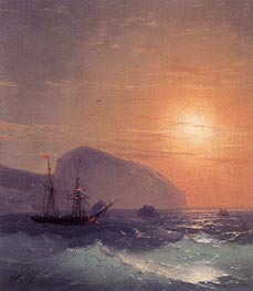 Sunset at Sea off Ayu Dag, Crimea, 1865 by Aivazovsky | Painting Reproduction
