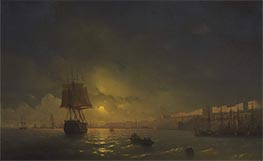 View of Odessa on a Moonlit Evening, 1846 by Aivazovsky | Painting Reproduction