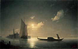 Gondolier at Sea by Night, 1843 by Aivazovsky | Painting Reproduction