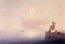 Elegant Ladies Fishing at the Water's Edge, 1870 by Aivazovsky | Painting Reproduction