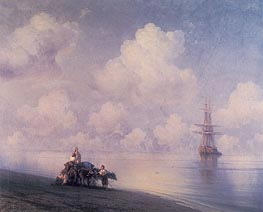 The Ox Cart on the Beach, 1873 by Aivazovsky | Painting Reproduction